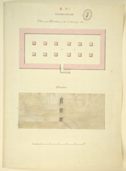 Plan and elevation of a granary, Gandikotta